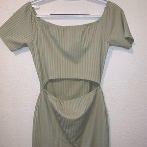 Sage Green Ribbed Bardot Cut Out Bodycon Dress